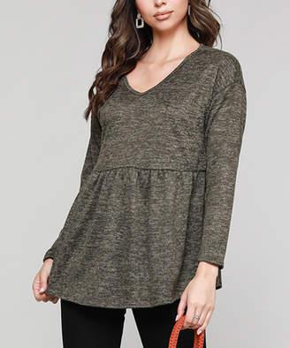 Cool Melon Women's Tunics Olive - Olive Drop-Shoulder Empire-Waist V-Neck Tunic - Women & Plus