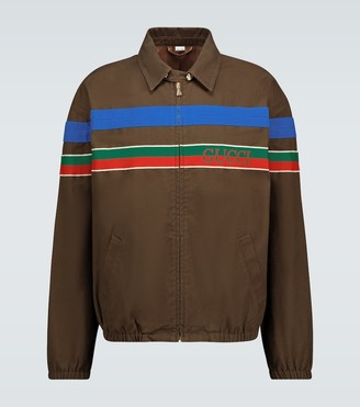 Gucci Cotton zipped jacket with stripe