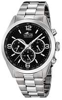 Lotus Men's Quartz Watch with Black Dial Chronograph Display and Silver Stainless Steel Bracelet 18152/2
