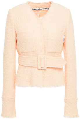 Alexander Wang Belted Metallic Wool-blend Tweed Jacket
