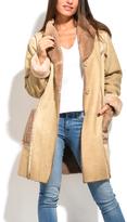Everest Beige Faux Fur-Trim Coat