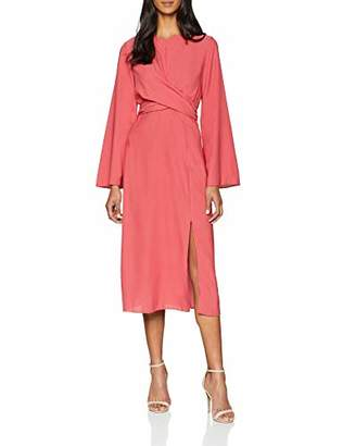 Miss Selfridge Women's Twist Front midi Dress, Pink, (Size: )