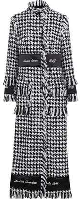 Dolce & Gabbana Embroidered Satin-trimmed Houndstooth Wool-blend Boucle-tweed Coat