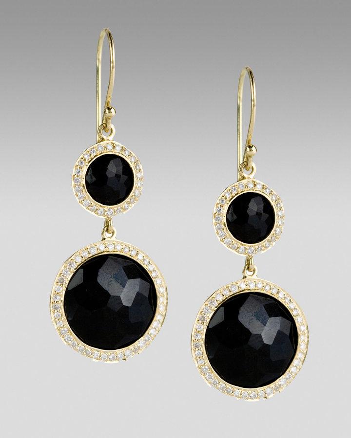 Ippolita Onyx and Diamond Lollipop Earrings