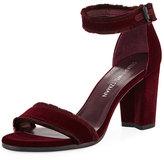 Stuart Weitzman Frayed Velvet Block-Heel Sandal, Dark Red