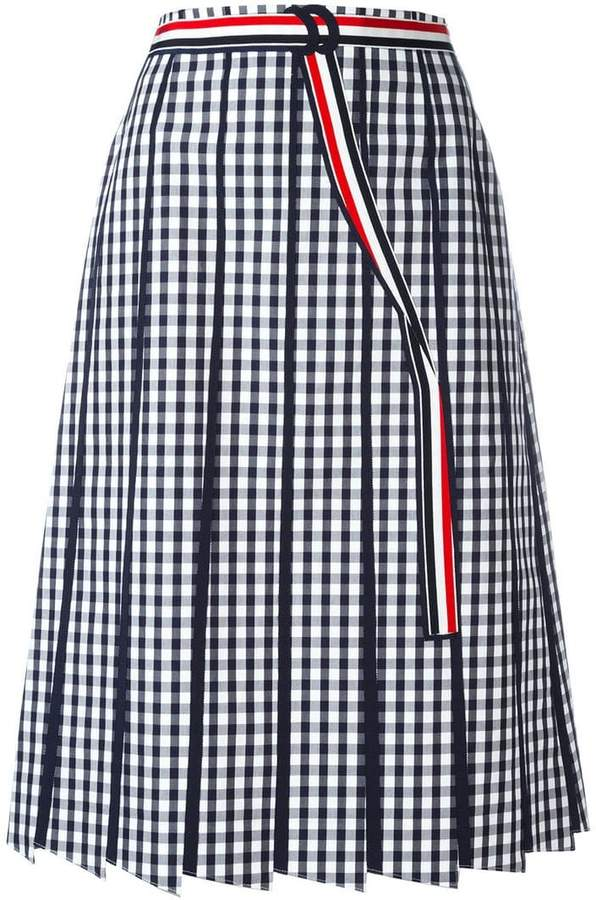 Thom Browne pleated gingham skirt