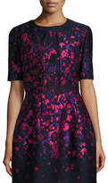 Oscar de la Renta Floral-Embroidered Half-Sleeve Cropped Jacket, Navy/Hot Pink