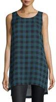 Eileen Fisher Sleeveless Buffalo Check Silk Tunic