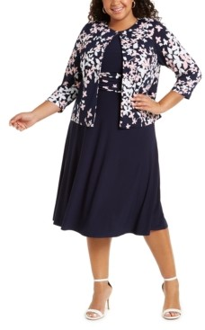 Jessica Howard Plus Size Floral-Print Jacket & Ruched-Waist Dress