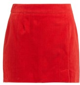 Bella Freud Alexa Cotton-corduroy Mini Skirt - Womens - Red