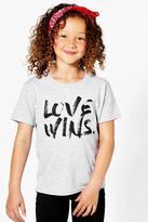 boohoo Charity Girls Love Wins T-Shirt grey