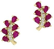 Bloomingdale's Certified Ruby & Diamond Leaf Stud Earrings in 14K Yellow Gold - 100% Exclusive