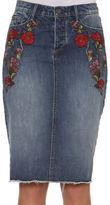 Driftwood Cotton-Blend Embroidered Pencil Skirt