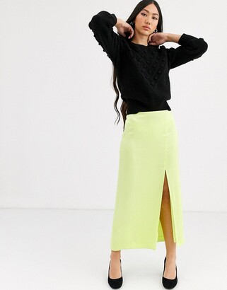 And other stories & satin side split midi skirt in lime-Yellow
