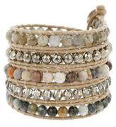 Chan Luu Black Diamonds, Crystal & Sterling Silver Multi-Strand Leather Wrap Bracelet