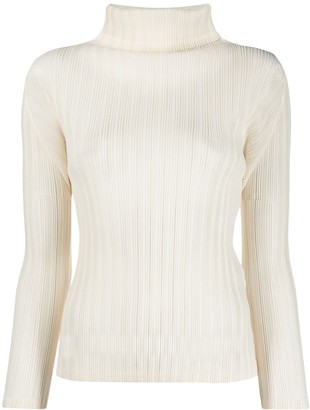 Pleats Please Issey Miyake Pleated Roll Neck Top