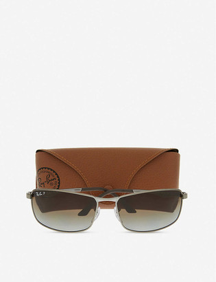 Ray-Ban Rb3498 metal rectangle sunglasses