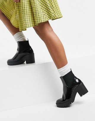 New Look patent chunky heeled ankle boot in black