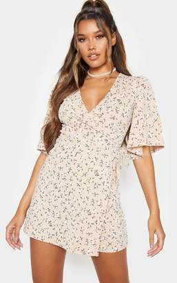 PrettyLittleThing Beige Ditsy Floral Tie Wrap Tea Dress