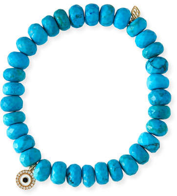 Sydney Evan 8mm Dark Turquoise Beaded Bracelet w/ 14k Diamond Evil Eye Charm
