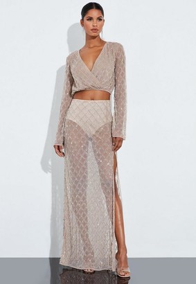 Missguided Nude Silver Drop Pearl Embellished Crop Top