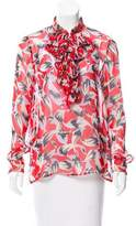 No.21 No. 21 Plissé Accented Silk Blouse