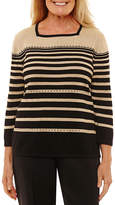 Alfred Dunner Long Sleeve Crew Neck Stripe Pullover Sweater
