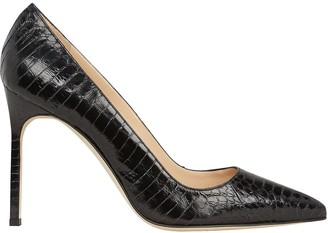 Manolo Blahnik BB Snakeskin Embossed Pumps