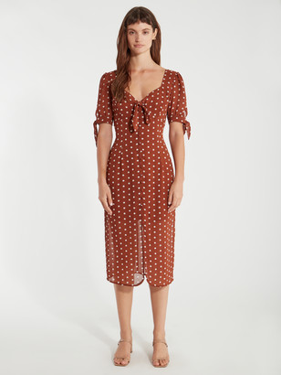 J.o.a. Woven Tie Front Button Down Midi Dress