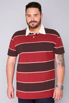 Yours Clothing BadRhino Maroon & Red Striped Short Sleeve Polo Shirt