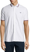 Fred Perry Knit Pique Button-Front Shirt, White