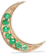 Andrea Fohrman Mini Crescent 14-karat Gold Emerald Earring - one size