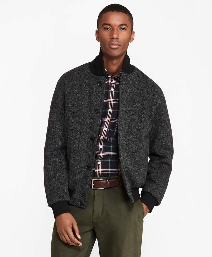 Brooks Brothers Shetland Wool Bomber Jacket