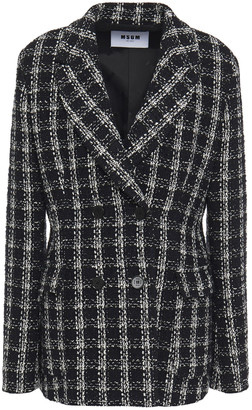MSGM Double-breasted Checked Cotton-blend Tweed Blazer
