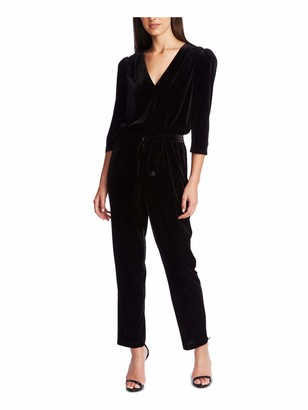 1 STATE Womens Black Solid Long Sleeve V Neck Blouse Straight Leg Jumpsuit Size: M
