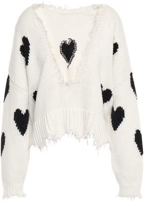 Wildfox Couture Frayed Intarsia Cotton Sweater