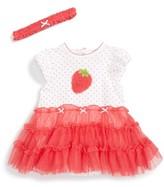 Little Me Infant Girl's Strawberry Tutu Popover Dress & Headband Set
