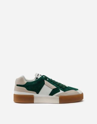 Dolce & Gabbana Miami Sneakers In Calfskin Nappa And Split-Grain Leather