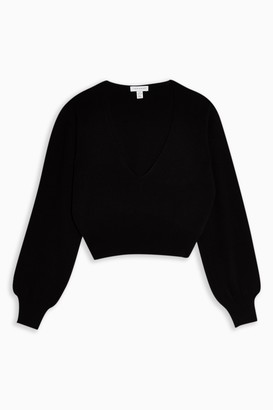 Topshop Womens Black Plunge V Cropped Knitted Jumper - Black