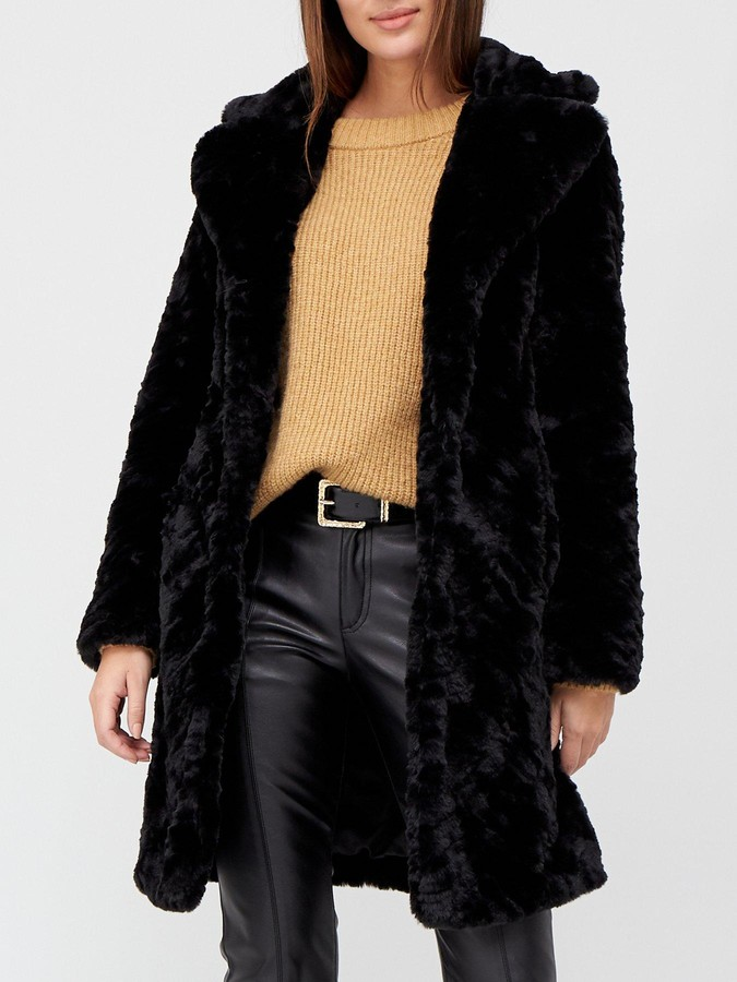 Thumbnail for your product : Very Faux Fur Texture Coat - Black