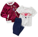 Flapdoodles Girls 4-6x) 3-Piece Makeup Patch Bomber Jacket & Leggings Set