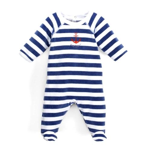 Petit Bateau Baby Boy's Anchor Footie - Grey