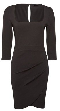 Dorothy Perkins Womens Black Square Neck Bodycon Dress, Black