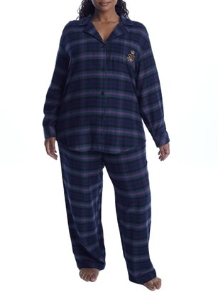 Lauren Ralph Lauren Plus Size Green Plaid Brushed Twill Pajama Set
