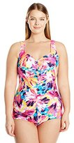 Maxine Of Hollywood Women's Plus Size Sunburst Tropical Shirred Girl Leg One Piece Swimsuit