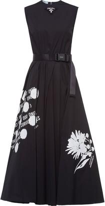 Prada Text-Print Flared Dress