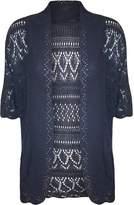 FashionMark Plus Size Women's Crochet Knitted Shrug Cardigan (Cream)