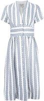 Sea striped V-neck dress - women - Linen/Flax - 4
