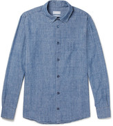 A.P.C. Chemise 87 Embroidered Cotton-chambray Shirt - Blue