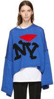 Raf Simons Blue Oversize 'I Love NY' Sweater